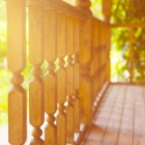 wooden fence on the porch